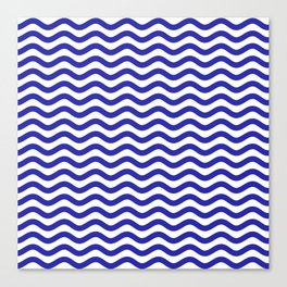 Waves (Navy & White Pattern) Canvas Print