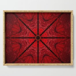 Red and Black Star Mandala Serving Tray