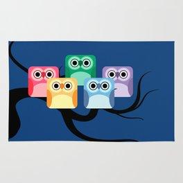 Rainbow Hooties Square Owls at Night Rug