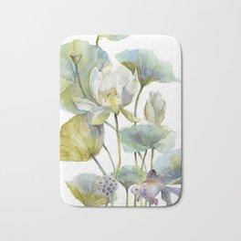 Lotus Plant and Fish Zen Design Watercolor Muted Pallet Botanical Art Bath Mat