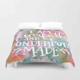 Fearfully and Wonderfully Made - Watercolor Scripture by Misty Diller Duvet Cover