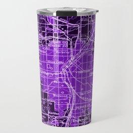 Denver Colorado map, year 1958, purple filter Travel Mug