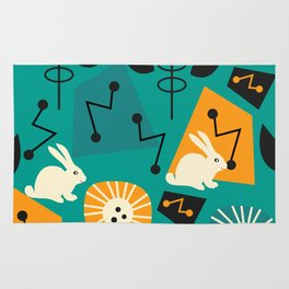 Mid-century pattern with bunnies Rug