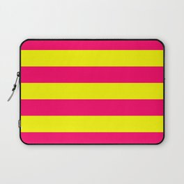 Bright Neon Pink and Yellow Horizontal Cabana Tent Stripes Laptop Sleeve