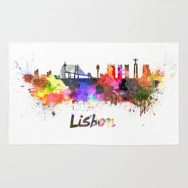 Lisbon skyline in watercolor Rug