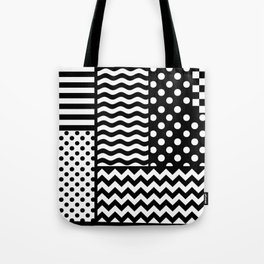 Mixed Patterns (Horizontal Stripes/Polka Dots/Wavy Stripes/Chevron/Checker) Tote Bag