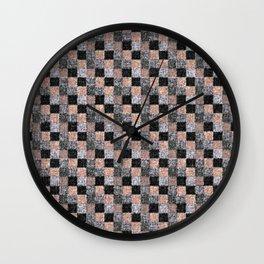 Rustic Charcoal Peach Black Patchwork Wall Clock