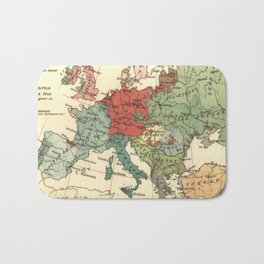 Vintage Linguistic Map of Europe (1907) Bath Mat
