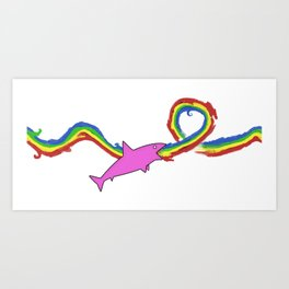 shark rainbow throwup Art Print