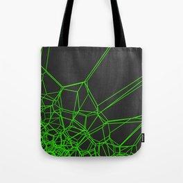 Green voronoi lattice on black background Tote Bag