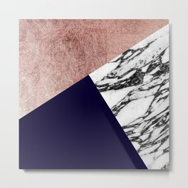 Modern Marble Rose Gold and Navy Blue Tricut Geo Metal Print