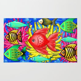 Fish Cute Colorful Doodles Rug