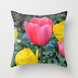 Tulips Yellow & Pink Throw Pillow