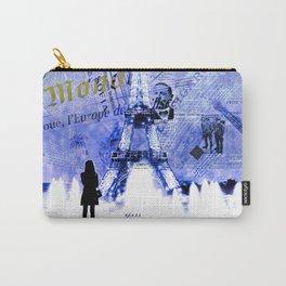 Paris News Blue Carry-All Pouch