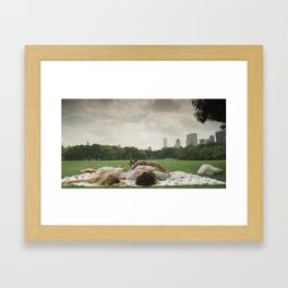 ♘ day date in central park ♘ Framed Art Print