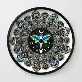 Lunar Moth Mandala Wall Clock