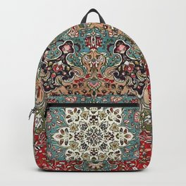 Antique Red Blue Black Persian Carpet Print Backpack