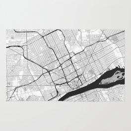 Detroit Map Gray Rug