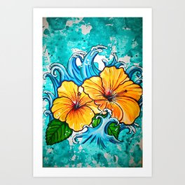 Hibiscus Wave Art Print