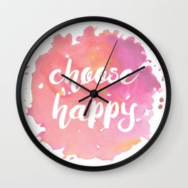 Choose Happy Watercolor Quote Inspirational Illustration Wall Clock