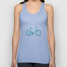 The Tattoo Bycicles - Black and Blue Koi on Blue and Black Unisex Tank Top