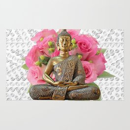 Buddha Rose Silver Mandala Rug