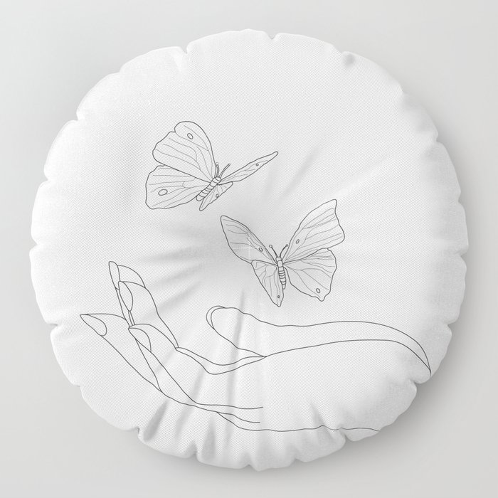 Butterflies on the Palm of the Hand Floor Pillow