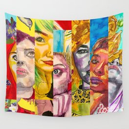 Female Faces Portrait Collage Design 1 Wall Tapestry