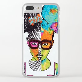 Girl with Afro Puffs Clear iPhone Case
