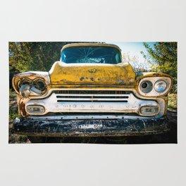 Old Yellow Chevry Apache Truck Rug