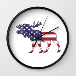 "Moose ""American Flag"" Wall Clock"