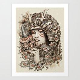 Peacock Samurai Art Print