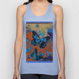Artistic Orange-Blue Monarch Butterflies Design Pattern Unisex Tank Top