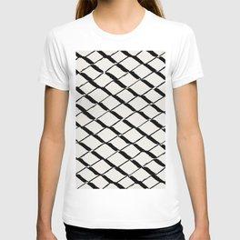 Modern Diamond Lattice Black on Light Gray T-shirt