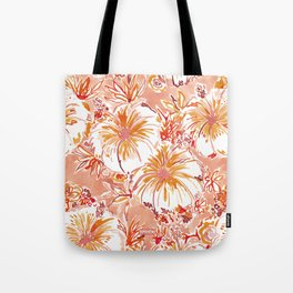 KOMBUCHA-CHA Orange Tropical Hibiscus Floral Tote Bag