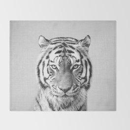 Tiger - Black & White Throw Blanket