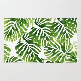 Tropical Leaves - Green Rug