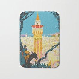 Tunis Tunisia - Vintage Africa Travel Poster Bath Mat