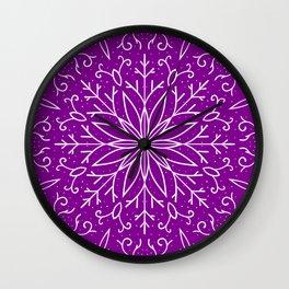 Single Snowflake - Purple Wall Clock