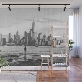 New York City Skyline Views and Vibes Black and White Wall Mural