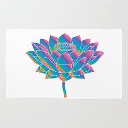Blue Rainbow Lotus Holly Flower Rug