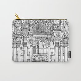 Alhambra palace, Granada, Andalucia - Spain-Black & White Carry-All Pouch