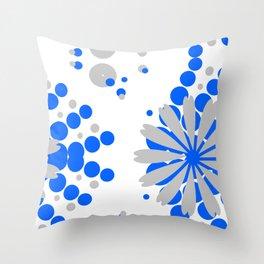 Blue Grey Burst Throw Pillow