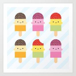 Kawaii Summer Ice Lollies / Popsicles Art Print