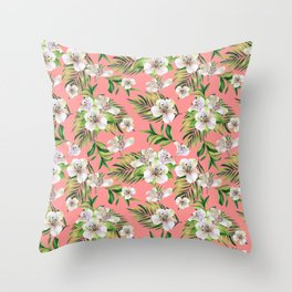 White flowers on a pink background Throw Pillow