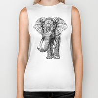 is the new black Biker Tanks featuring Ornate Elephant by BIOWORKZ