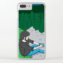 Looking over the mountains Clear iPhone Case