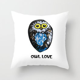 Owl Love Rock Painting on River Rock by annmariescreations Throw Pillow