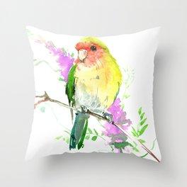 Lovebird and Flower Throw Pillow