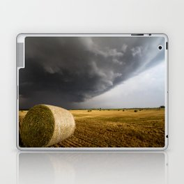 Spinning Gold - Storm Over Hay Bales in Kansas Field Laptop & iPad Skin